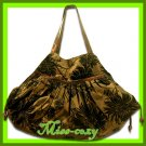 THAI SILK HAND SHOULDER BAG BROWN FLORAL VELVET  TOTE HOBO / B102