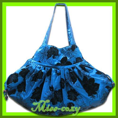 THAI SILK SHOULDER BAG BLUE BIG FLORAL HIPPIE TOTE HOBO / B112
