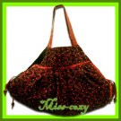 THAI SILK SHOULDER HAND BAG BURGUNDY BLINK HIPPIE HOBO / B119