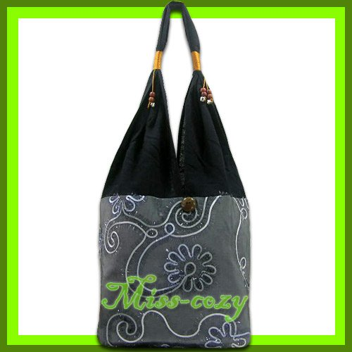 THAI SILK SHOULDER BAG GRAY EMBROIDER TOTE HOBO / B150