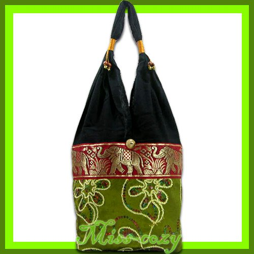 THAI SILK SHOULDER BAG HOBO GREEN EMBROIDERED TOTE / B153