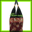 THAI SILK SHOULDER BAG HOBO MAROON EMBROIDER TOTE / B154