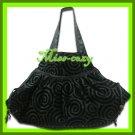 THAI SILK SHOULDER HAND BAG BLACK GYPSY HIPPIE HOBO / B104