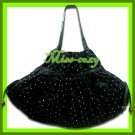 THAI SILK SHOULDER HAND BAG BLACK BLINK HIPPIE TOTE HOBO / B118