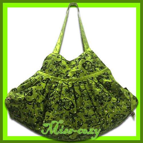 THAI SILK SHOULDER HAND BAG GREEN FLORAL GYPSY HOBO / B124
