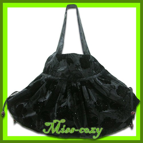THAI SILK SHOULDER HANDBAG BLACK BIG FLORAL HIPPIE HOBO / B115