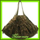 THAI SILK HAND SHOULDER BAG BROWN FLORAL GYPSY HOBO / B122