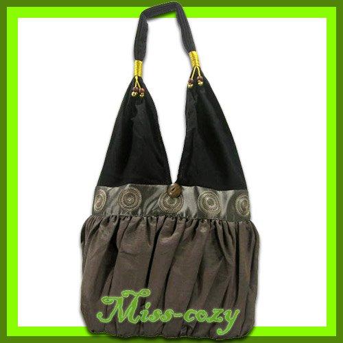 THAI SILK EMBROIDERED SHOULDER BAG BROWN HIPPIE HOBO / B130