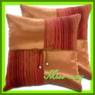 2 THAI SILK THROW CUSHION CASE PILLOW COVER BROWN / 1112