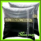 2 THAI SILK CUSHION PILLOW COVER ELEPHANT BLACK TWO-TONE / 1129