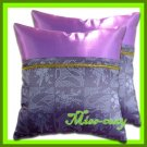 2 THAI SILK THROW CUSHION PILLOW COVER PURPLE TWO-TONE / 1146