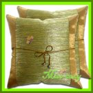 2 THAI SILK CUSHION CASE PILLOW COVER BROWN FLORAL / 1154