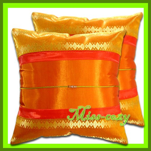 2 THAI SILK CUSHION CASE PILLOW COVER ORANGE/GOLD / 1160