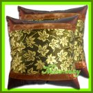 2 THAI SILK CUSHION CASE PILLOW COVER BROWN FLORAL / 1170