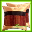 2 THAI SILK THROW CUSHION CASE PILLOW COVER TWO-TONE / 1183