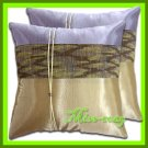 2 THAI SILK THROW CUSHION PILLOW COVER IVORY GREY / 1203