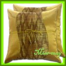 2 THAI SILK THROW CUSHION CASE PILLOW COVER GOLD / 1101