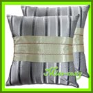 2 THAI SILK THROW CUSHION CASE PILLOW COVER GREY / 1108