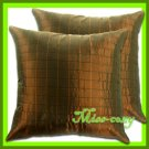 2 THAI SILK THROW CUSHION CASE PILLOW COVER BROWN / 1110