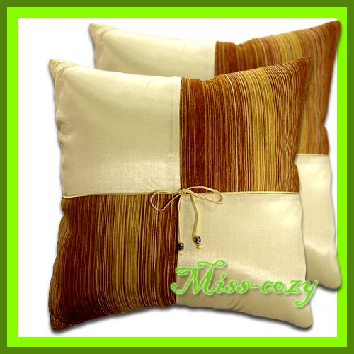 2 THAI SILK CUSHION  PILLOW COVER IVORY TWO-TONE / 1118