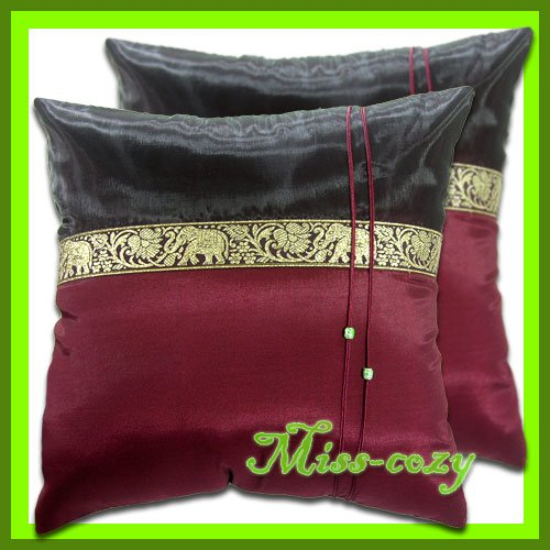 2 THAI SILK CUSHION PILLOW COVER ELEPHANT MAROON / 1127