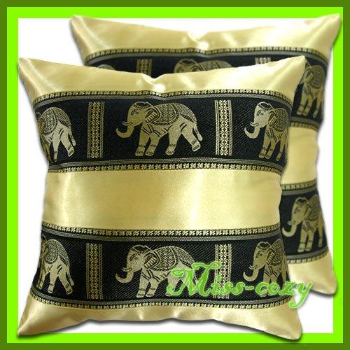 2 THAI SILK CUSHION PILLOW COVER ELEPHANT GOLD / 1132