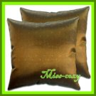 2 THAI SILK CUSHION PILLOW COVER BROWN TWO-TONE / 1150