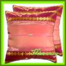 2 THAI SILK THROW CUSHION CASE PILLOW COVER PINK/GOLD / 1162