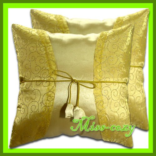 2 THAI SILK THROW CUSHION CASE PILLOW COVER GOLD / 1181