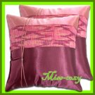 2 THAI SILK CUSHION CASE PILLOW COVER PURPLE/PINK / 1206