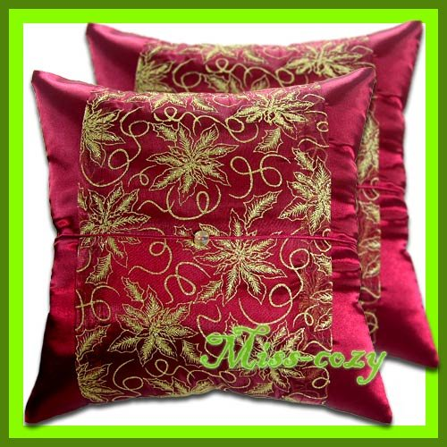 2 THAI SILK CUSHION PILLOW COVER MAROON FLORAL / 1209