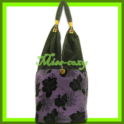 THAI SILK SHOULDER BAG HANDBAG HOBO PURPLE BIG FLORAL TOTE / B145