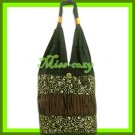 THAI SILK HANDBAG SHOULDER BAG HOBO BROWN GOLD TOTE / B159