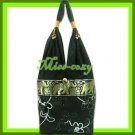 THAI SILK SHOULDER BAG HOBO BLACK EMBROIDER TOTE HANDBAG / B170