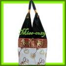 THAI SILK SHOULDER BAG HOBO WHITE LOTUS EMBROIDER TOTE / B171
