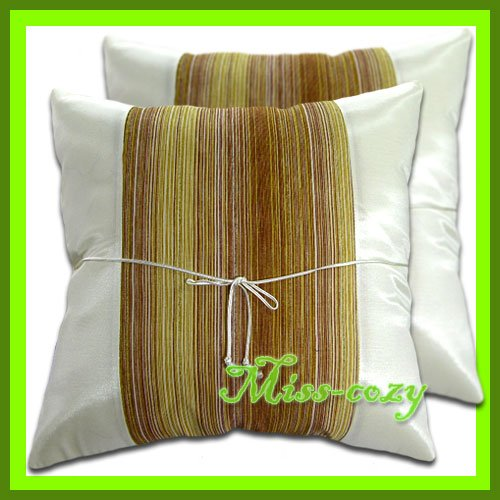 2 THAI SILK CUSHION CASE THROW PILLOW COVER WHITE/BROWN / 1225