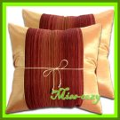 2 THAI SILK CUSHION CASE PILLOW COVER LIGHT ORANGE / 1220
