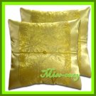 2 THAI SILK CUSHION CASE PILLOW COVER GOLD FLORAL SOFA / 1208