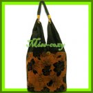THAI SILK SHOULDER BAG HANDBAG BROWN BIG FLORAL TOTE HOBO / B142