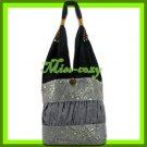 THAI SILK HANDBAG SHOULDER BAG HOBO GRAY GOLD TOTE / B158