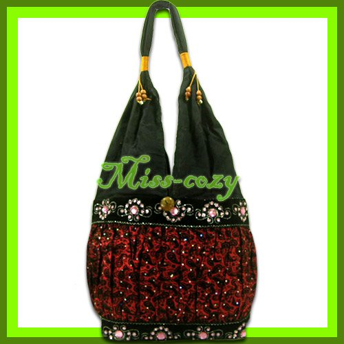 THAI SILK SHOULDER BAG HOBO RED EMBROIDERED TOTE / B162