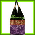 THAI SILK SHOULDER BAG HOBO PURPLE EMBROIDER TOTE / B167