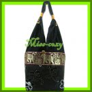 THAI SILK SHOULDER BAG HOBO BLACK EMBROIDER TOTE / B168