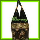 THAI SILK SHOULDER BAG HOBO TOTE BROWN LOTUS EMBROIDER / B172