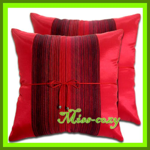 2 THAI SILK CUSHION CASE THROW PILLOW COVER SOFA RED / 1226