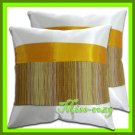 2 THAI SILK CUSHION CASE PILLOW COVER WHITE/BROWN / 1186