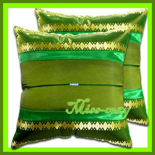 2 THAI SILK CUSHION CASE PILLOW COVER GREEN/GOLD / 1161