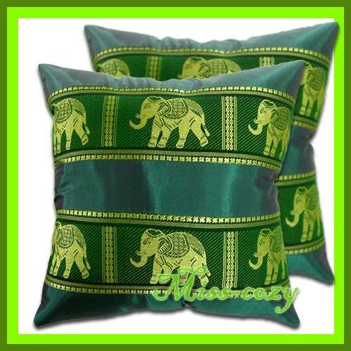 2 THAI SILK CUSHION PILLOW COVER ELEPHANT GREEN / 1133