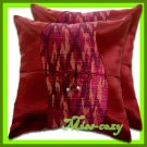 2 THAI SILK THROW CUSHION CASE PILLOW COVER MAROON / 1105