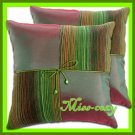 2 THAI SILK CUSHION CASE PILLOW COVER GREEN TWO-TONE / 1113